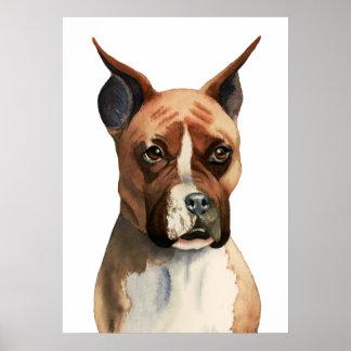 Pintura de la acuarela del perro del boxeador póster