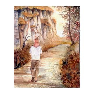 Pintura de la acuarela del rastro del otoño del impresión acrílica