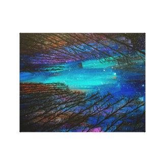 Pintura de la aurora boreal impresión en lienzo