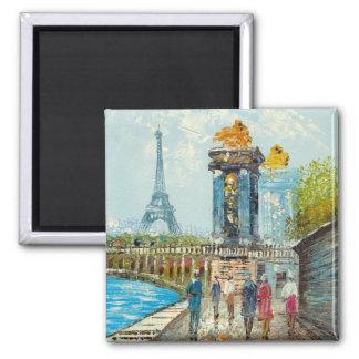 Pintura de la escena de la torre Eiffel de París Imán Cuadrado