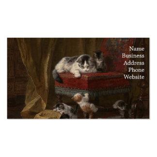 Pintura de la familia de gatos tarjetas de visita