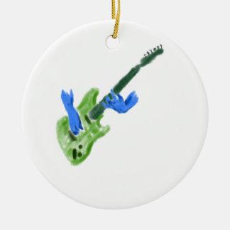 Pintura de la guitarra eléctrica, manos verdes del adorno redondo de cerámica