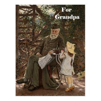 Pintura de la nieta del abuelo del día del abuelo postales