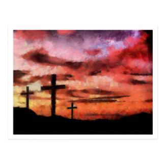 Pintura de la puesta del sol de 3 cruces postal