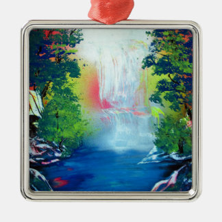 Pintura de la puesta del sol de la cascada del adorno de cerámica