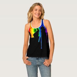 Pintura de la salpicadura del arco iris camiseta de tirantes