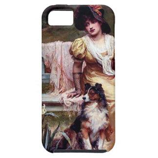 Pintura de la señora y de dos perros caseros iPhone 5 protectores