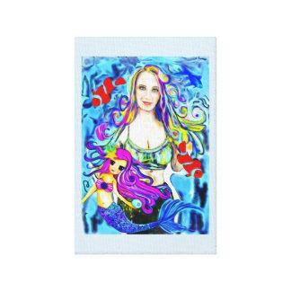 Pintura de la sirena, retrato, personalizado lienzo