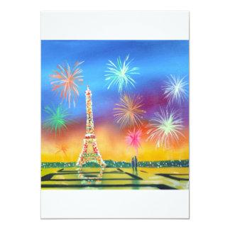 Pintura de la torre Eiffel en París Invitación 12,7 X 17,8 Cm
