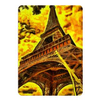 Pintura de la torre Eiffel Invitación 12,7 X 17,8 Cm