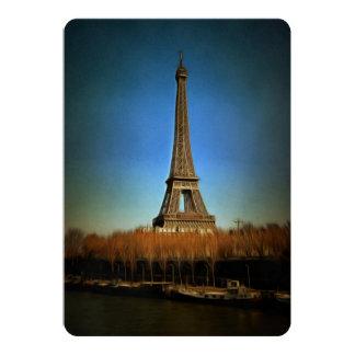Pintura de la torre Eiffel, París Invitación 12,7 X 17,8 Cm
