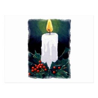Pintura de la vela y del acebo: Navidad Postal