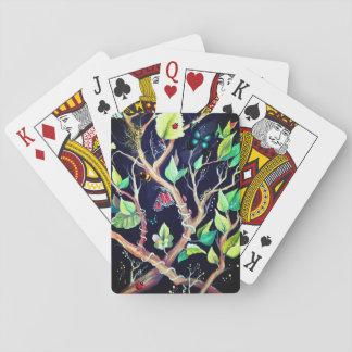 Pintura de las hojas y de las mariposas baraja de cartas