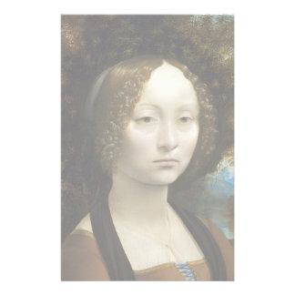 Pintura de Leonardo da Vinci Ginevra de' Benci Papeleria Personalizada