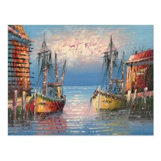 Pintura de los barcos atados a un puerto deportivo postal