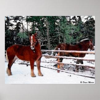 Pintura de los caballos del rancho posters