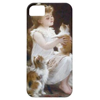 Pintura de los gatos del mascota del niño del chic iPhone 5 Case-Mate protectores
