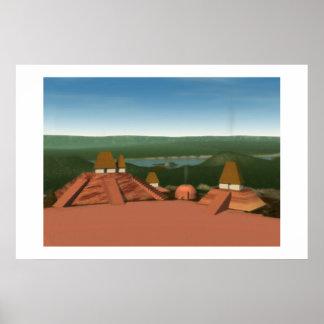 Pintura de los montones de Ocmulgee Póster