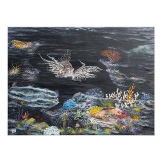 Pintura de los pescados del león encendido arte fotografico