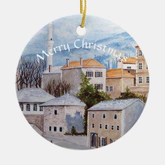 Pintura de Mostar Bosnia Townscape Adorno Navideño Redondo De Cerámica