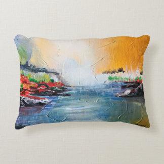 Pintura de paisaje abstracta en la almohada de