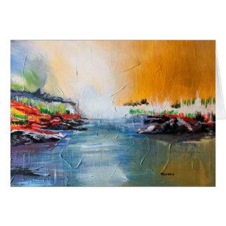 Pintura de paisaje abstracta en la postal