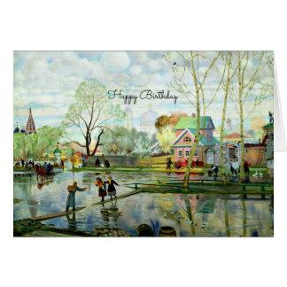 Pintura de paisaje de la primavera - feliz tarjeta