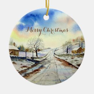 Pintura de paisaje hivernal del carril adorno de cerámica