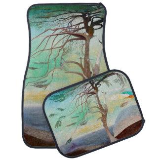 Pintura de paisaje sola del árbol de cedro alfombrilla de coche
