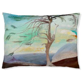 Pintura de paisaje sola del árbol de cedro cama para mascotas