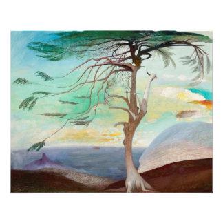 Pintura de paisaje sola del árbol de cedro folleto 11,4 x 14,2 cm