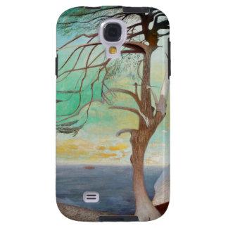 Pintura de paisaje sola del árbol de cedro funda galaxy s4