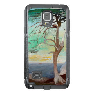 Pintura de paisaje sola del árbol de cedro funda OtterBox para samsung note 4