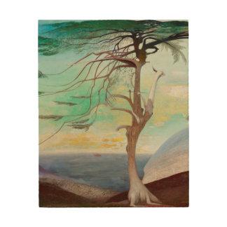 Pintura de paisaje sola del árbol de cedro impresión en madera