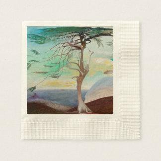 Pintura de paisaje sola del árbol de cedro servilleta de papel