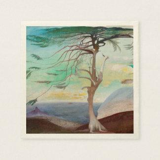 Pintura de paisaje sola del árbol de cedro servilletas desechables
