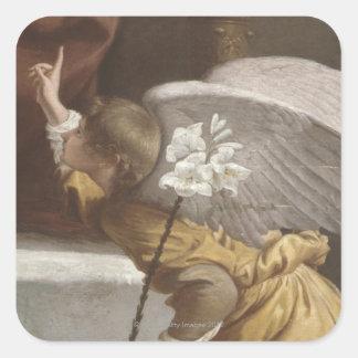 Pintura de señalar del ángel pegatina cuadrada