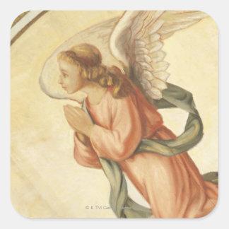 Pintura de un ángel que ruega pegatina cuadrada