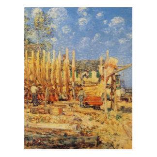Pintura de un Schooner que es construido en Postal