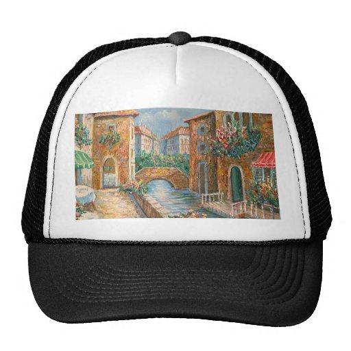 Pintura de una calle de antaño de Venecia Gorros
