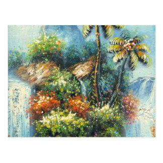 Pintura de una cascada tropical postal