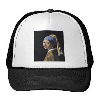 Pintura de Vermeer - chica con un pendiente de la  Gorras De Camionero
