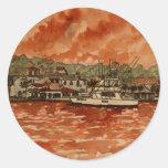 pintura del barco de pesca del agua salada del pegatinas redondas