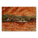 pintura del barco de pesca del agua salada del yat felicitacion
