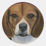 Pintura del beagle - arte de la raza del perro etiqueta redonda