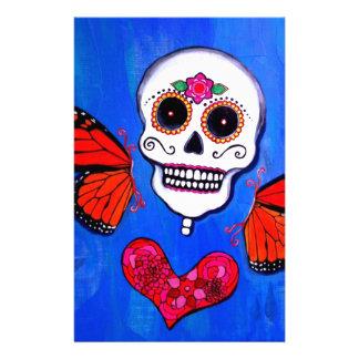 Pintura del cráneo de Dia De Los Muertos Sugar Papelería Personalizada