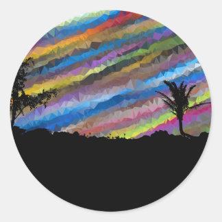 Pintura del creyón pegatina redonda