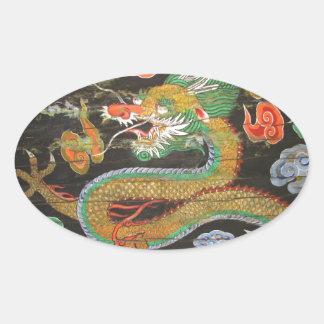Pintura del dragón en el techo coreano de Sungnyem Pegatina Óval
