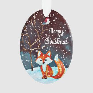 Pintura del Fox del invierno Adorno