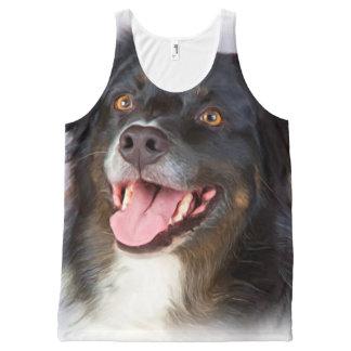 Pintura del perro - arte del perro - acaricie el camiseta de tirantes con estampado integral